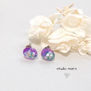 星屑のピアス紫
